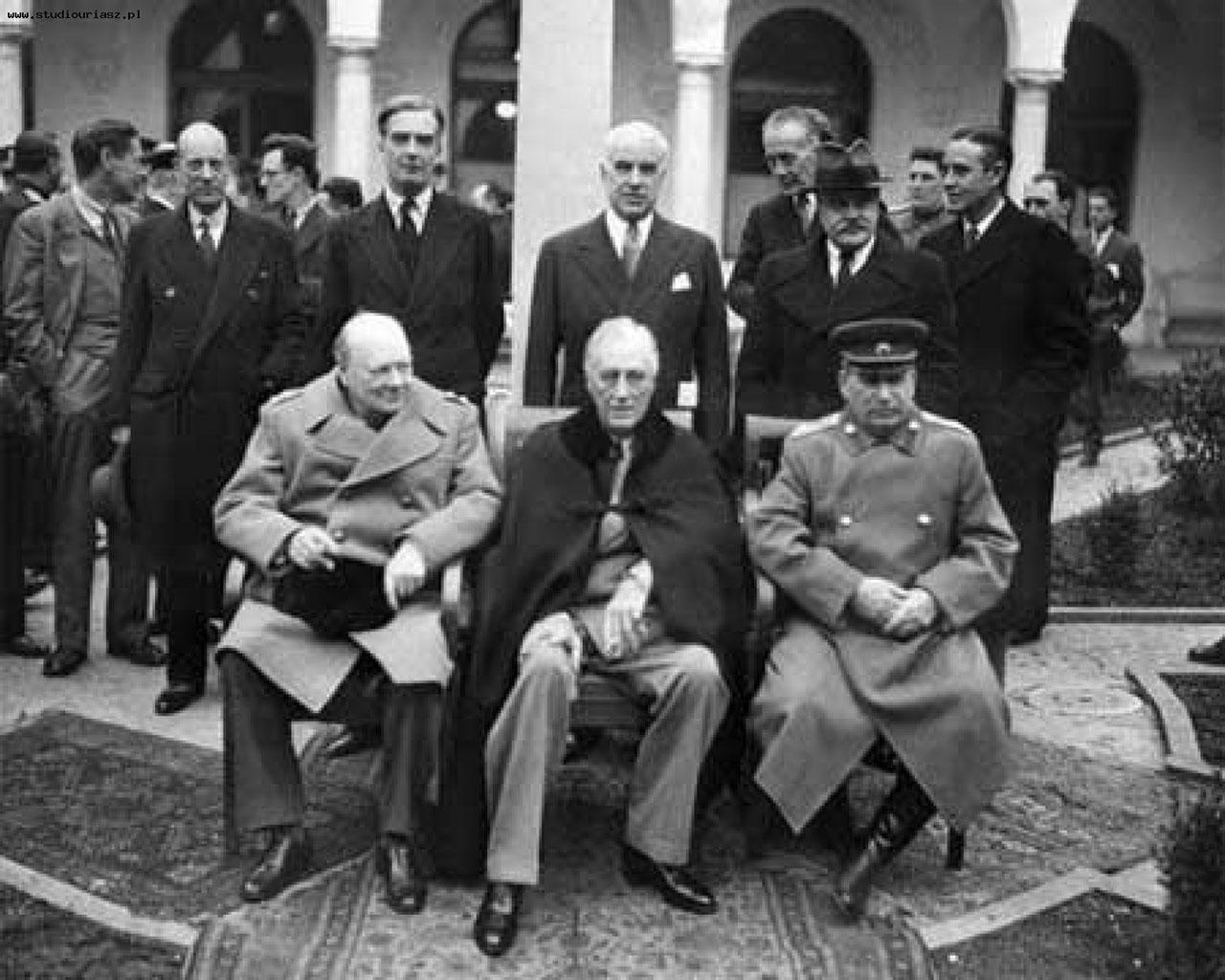 Крымская конференция. Черчилль, Рузвельт, Сталин в Ялте. Февраль 1945 года.