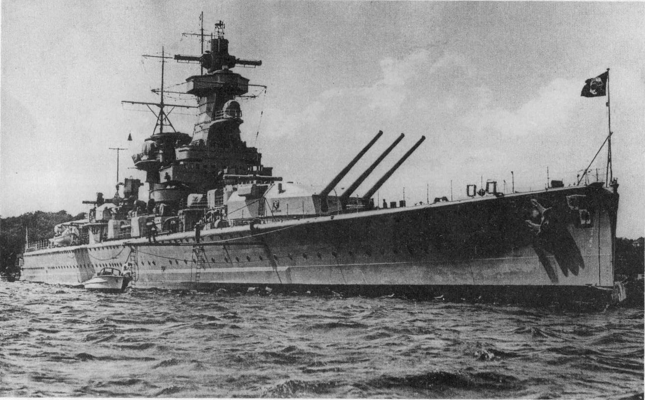 Немецкий тяжелый крейсер «Адмирал граф Шпее» («Admiral Graf Spee»).