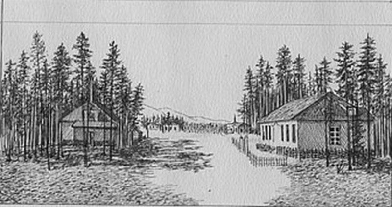 С. Ковалев. Больница Севлага. Слева - дом главврача, справа 1 терапевтическое отделение. 1943 год. Альбом рисунков «Север». Бумага, карандаш.
