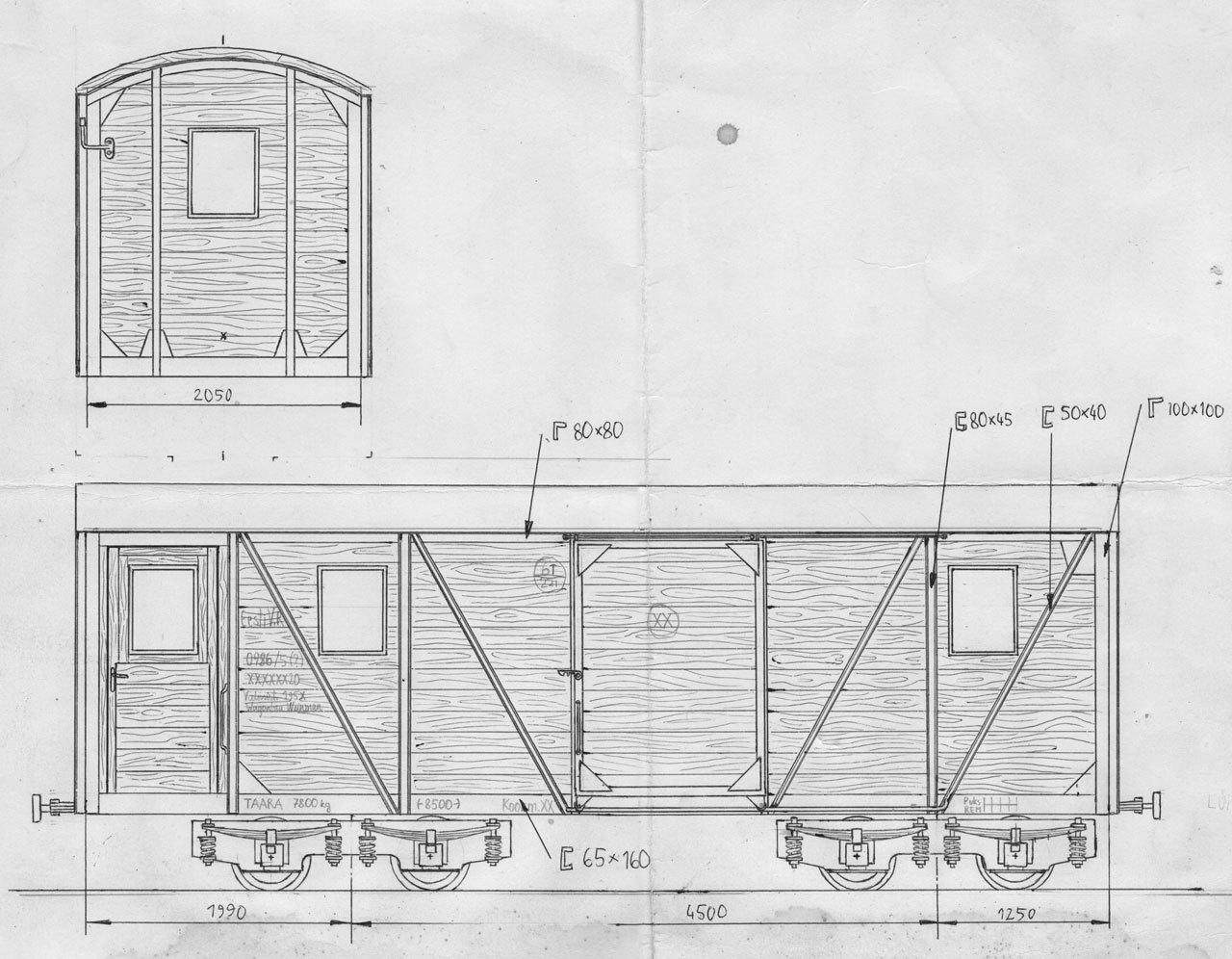 Чертёж грузопассажирского вагона завода Веймар (Weimar). 1950 год.
