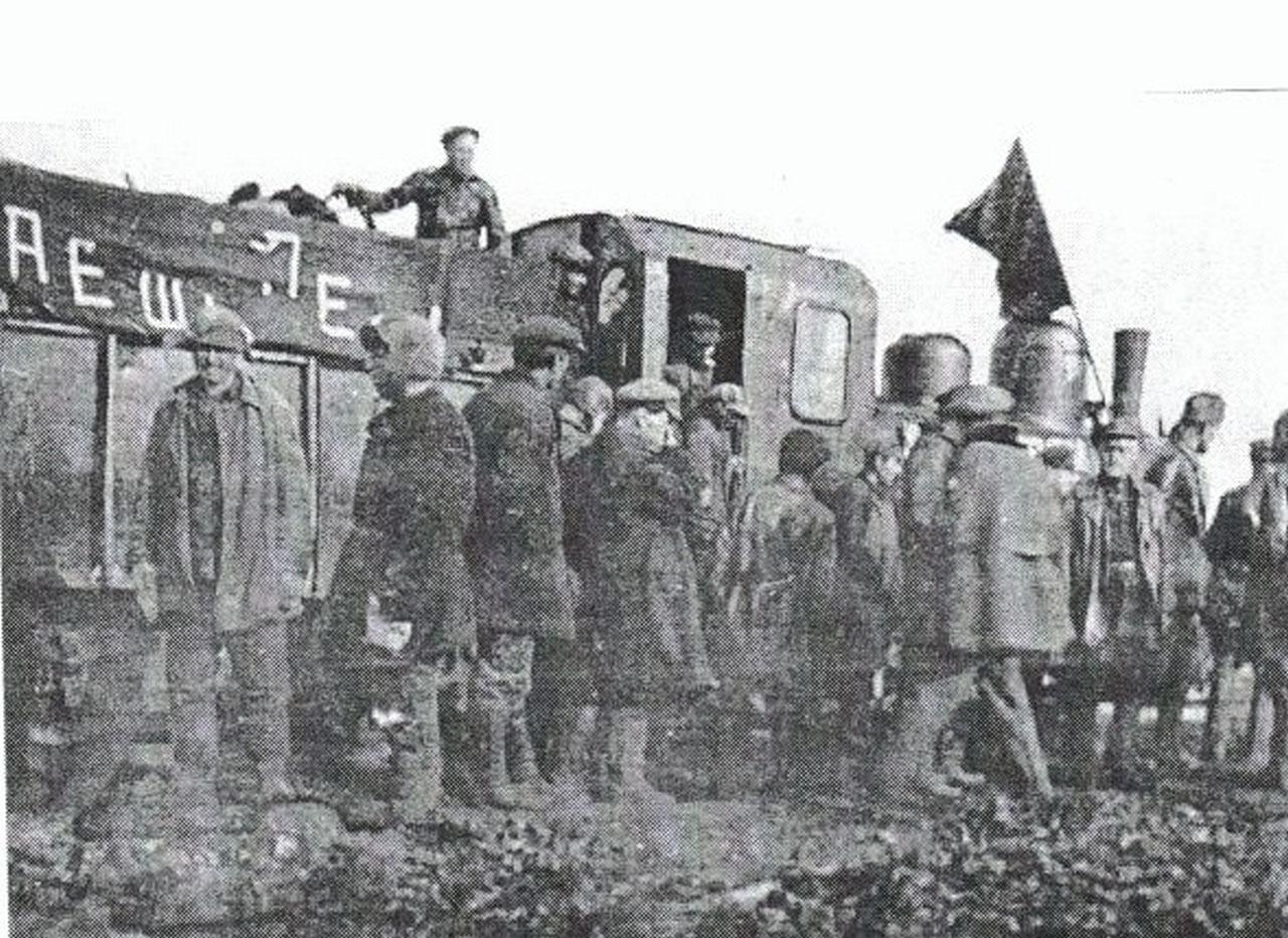 Узкоколейная железная дорога в окрестностях пос. Магадан. 1932 г.