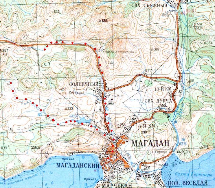 Трасса разобранной узкоколейной железной дороги на топографической карте масштаба 1:200 000 (нанесена условно).