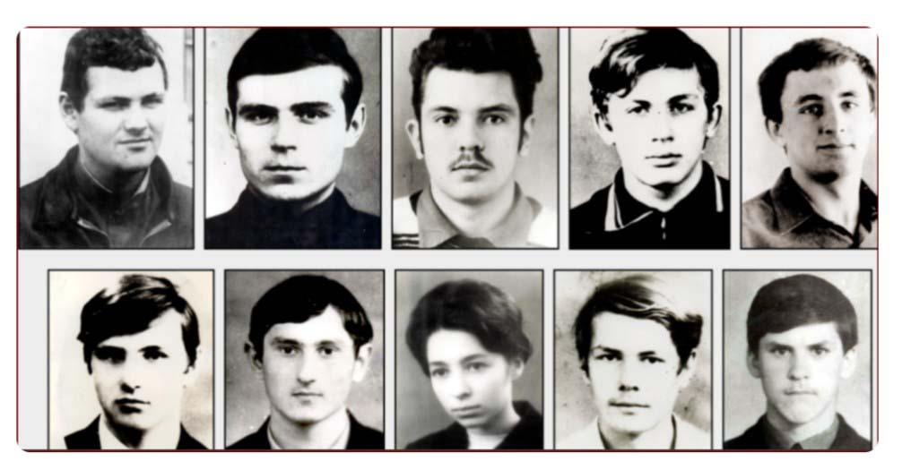 Группа студентов из г. Куйбышева, погибших на Кольском полуострове зимой 1973 года.