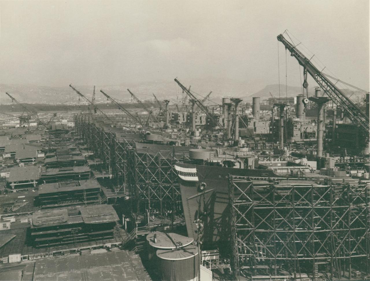 Верфь «Richmond Shipyard». Строительство кораблей типа «Liberty». Ричмонд, США.