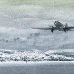 Взлетает «воздушный извозчик» Ли-2. Аэропорт «Магадан-13 км». 60-е годы ХХ века.