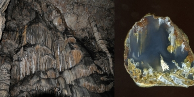 В пещере Зевса. Моховой агат, Ольское плато.